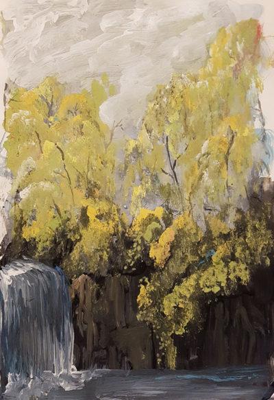 Waterfall in yellow