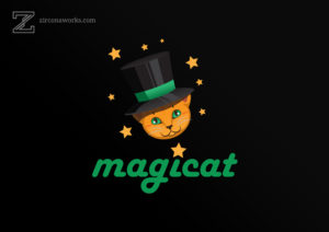 A cute cat illustration and logo on a black background with yellow stars
