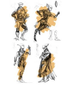 Sketch of main characters in game